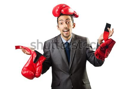 Badly beaten businessman with boxing gloves Stock photo © Elnur