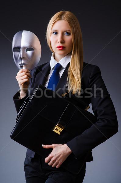 Stock fotó: Nő · maszk · üzlet · üzletember · öltöny · jókedv
