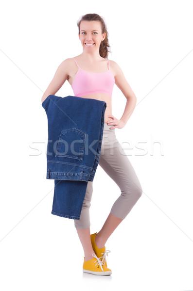 Femme régime grand jeans fille heureux Photo stock © Elnur