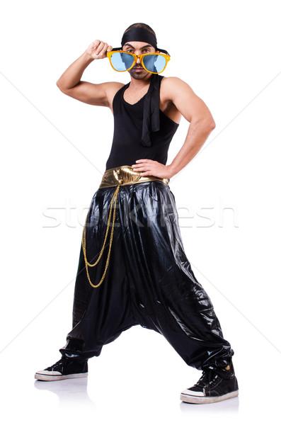 Rap danser geïsoleerd witte man dans Stockfoto © Elnur