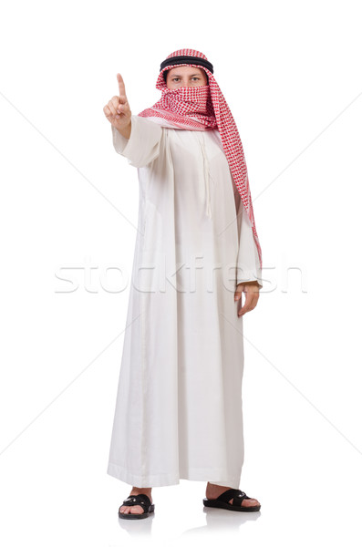 Bedouin  pressing virtual buttons isolated on whiteisolated on w Stock photo © Elnur