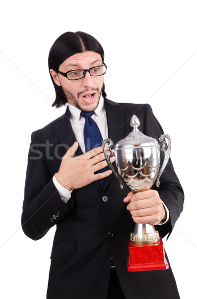 Businessman awarded with prize cup isolated on white Stock photo © Elnur