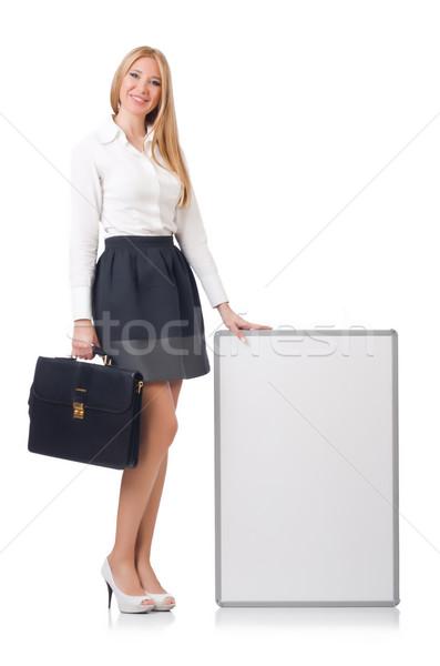 Nő üzletasszony tábla fehér mosoly munka Stock fotó © Elnur