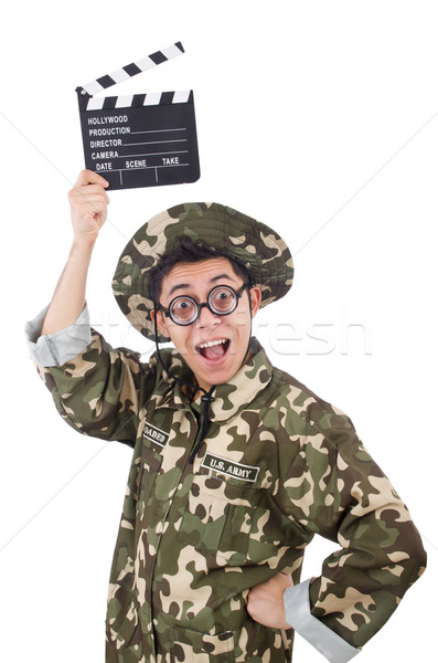 Funny soldier with movie board isolated on the white Stock photo © Elnur