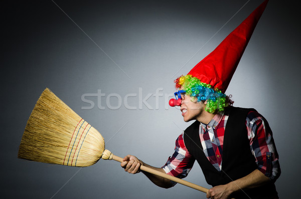 Funny clown with the broom Stock photo © Elnur