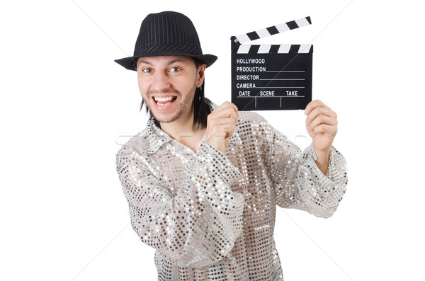 Man with movie clapperboard and hat Stock photo © Elnur