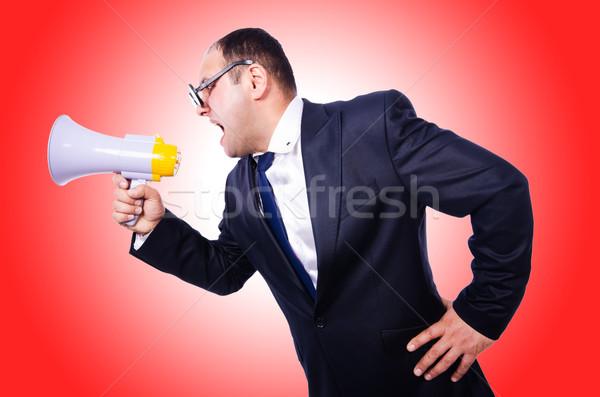 Foto stock: Engraçado · homem · alto-falante · branco · negócio · trabalhar