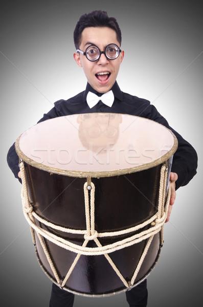 Divertente uomo tamburo bianco divertimento colore Foto d'archivio © Elnur