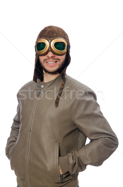 Stock photo: Funny pilot isolated on the white
