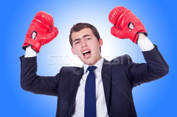 Foto stock: Jovem · empresário · isolado · branco · mão · esportes