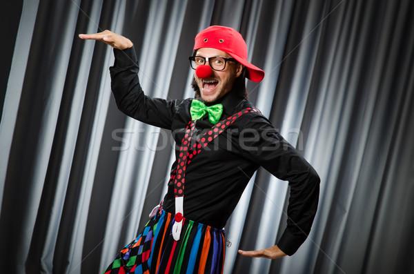 Funny Clown witzig Vorhang Lächeln Geburtstag Stock foto © Elnur