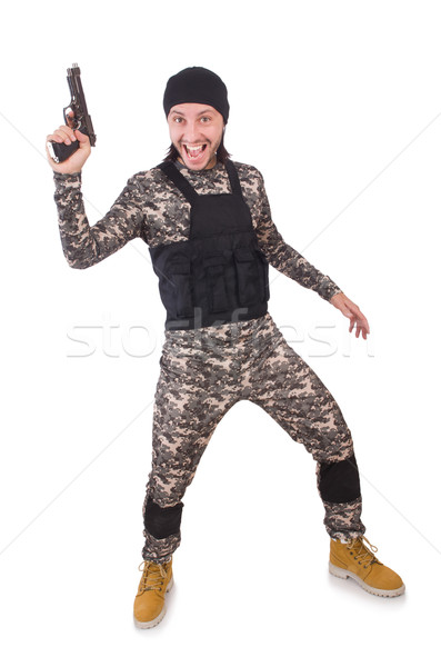 Young man in military uniform holding gun isolated on white Stock photo © Elnur