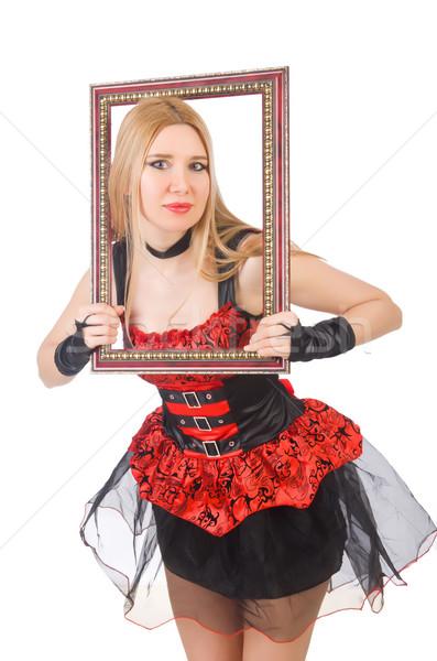 Foto stock: Mulher · quadro · de · imagem · isolado · branco · cara