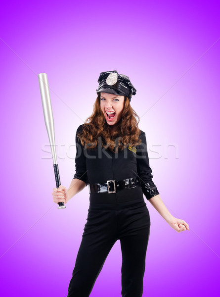 Police with bat against the gradient Stock photo © Elnur