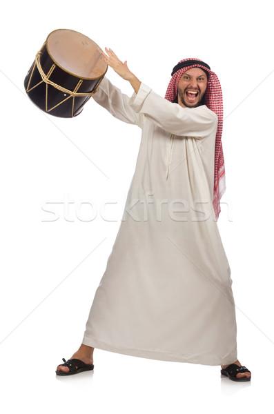árabes hombre jugando tambor aislado blanco Foto stock © Elnur