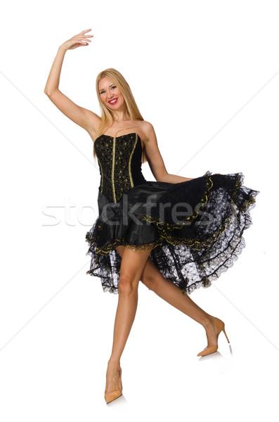 Szőke haj lány fekete estélyi ruha izolált Stock fotó © Elnur