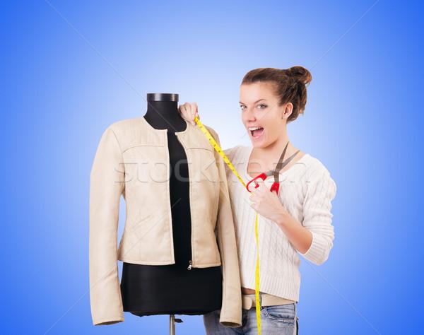 Vrouw kleermaker werken jurk mode werk Stockfoto © Elnur