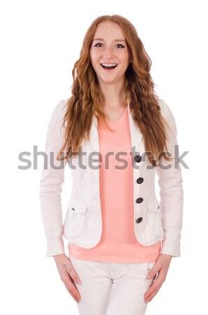 Cute uśmiechnięty dziewczyna świetle krótki płaszcz Zdjęcia stock © Elnur