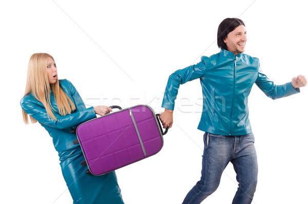 Bastante nina hombre maletas aislado Foto stock © Elnur
