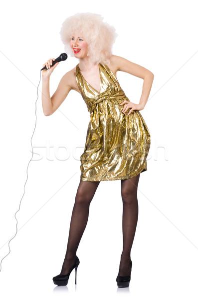 Zanger microfoon geïsoleerd witte meisje model Stockfoto © Elnur