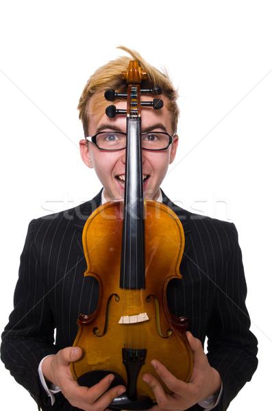 Giovani musicista violino isolato bianco arte Foto d'archivio © Elnur