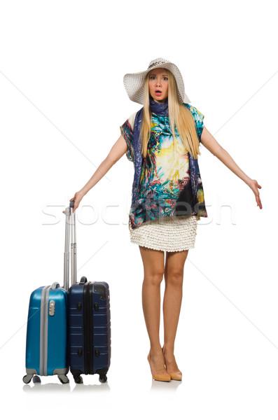 Stock fotó: Utazás · nő · izolált · fehér · lány · nyár