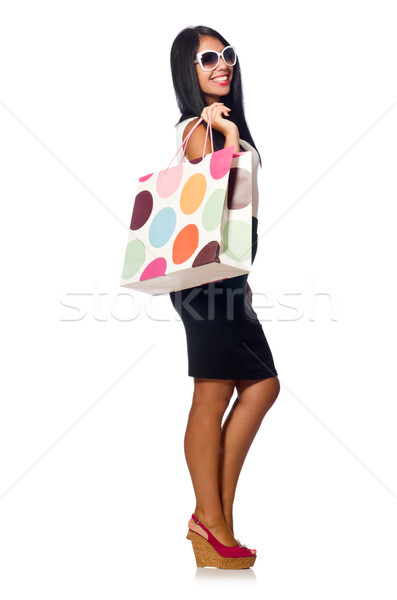 Woman with shopping bags on white Stock photo © Elnur