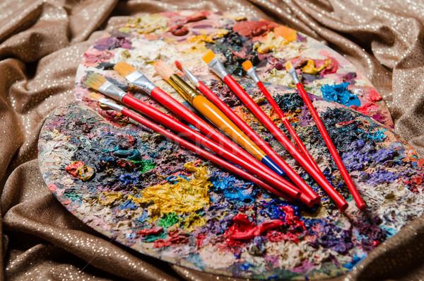 Művész paletta művészet terv keret zöld Stock fotó © Elnur