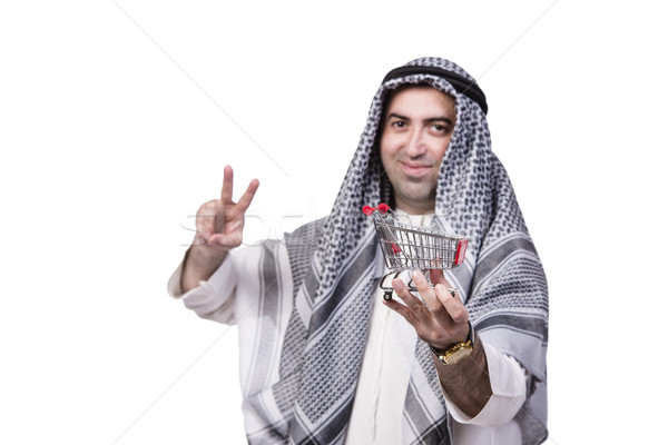 Arab man with shopping cart trolley isolated on white Stock photo © Elnur