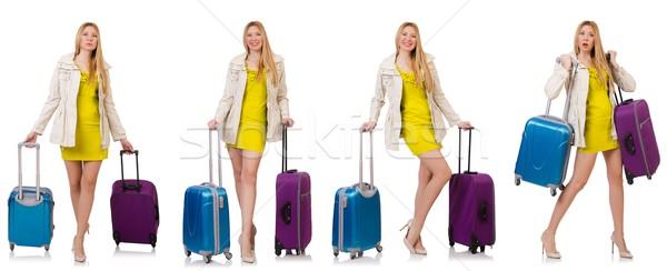 Donna vacanze valigia bianco felice sfondo Foto d'archivio © Elnur