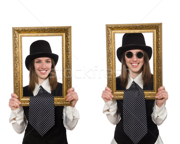 Woman with picture frame isolated on white Stock photo © Elnur