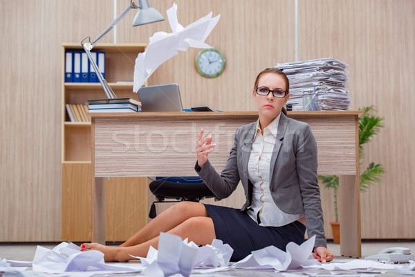 The busy stressful woman secretary under stress in the office Stock photo © Elnur