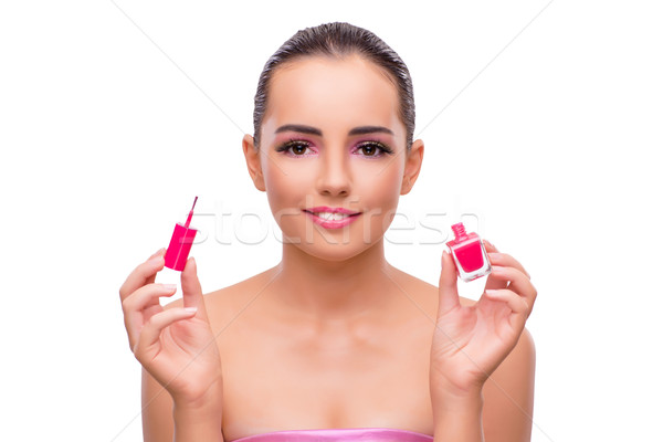 Beautiful woman in make up concept isolated on white Stock photo © Elnur