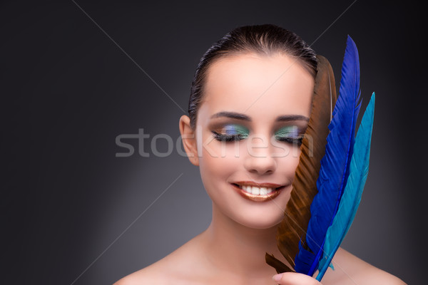 Beautiful woman with writing feather quill Stock photo © Elnur