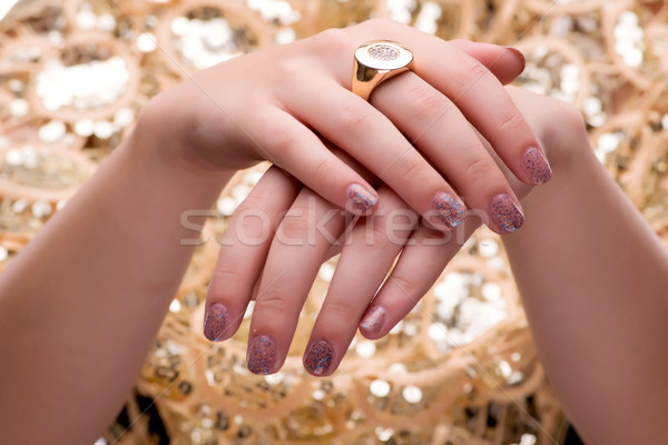 Woman showing off her jewellery rings in fashion concept Stock photo © Elnur