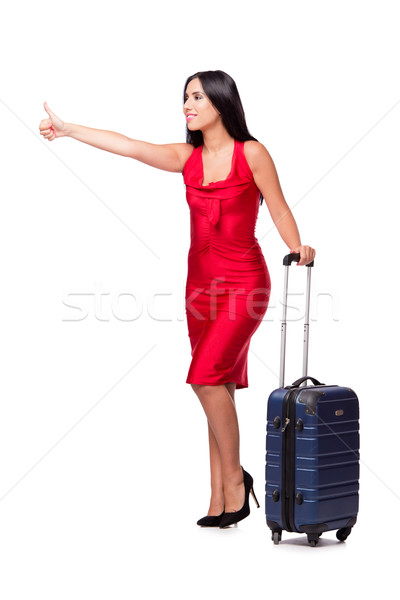 Woman with suitcase isolated on white background Stock photo © Elnur