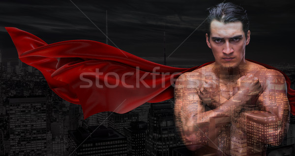 Man in red cover protecting city Stock photo © Elnur