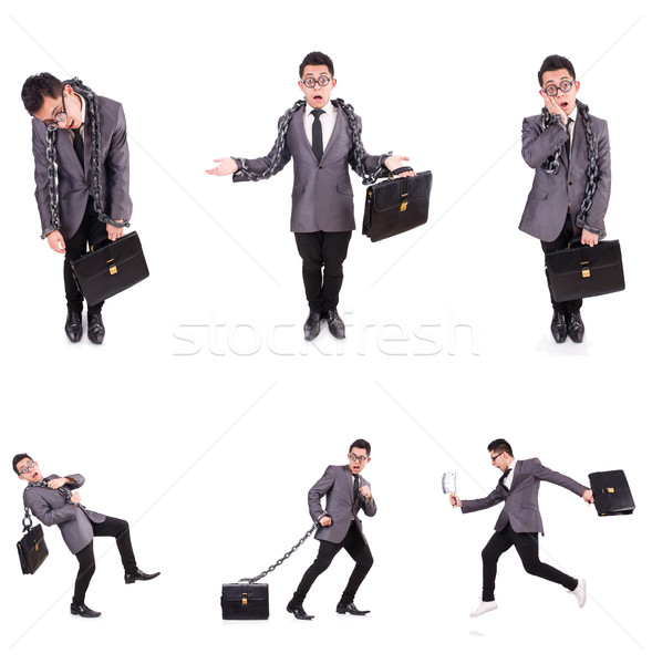 Stock photo: The businessman chained isolated on white
