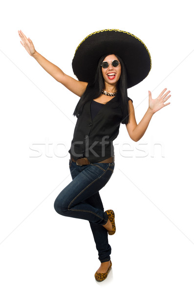 Giovani mexican donna indossare sombrero isolato Foto d'archivio © Elnur