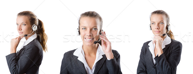 Call center assistant responding to calls Stock photo © Elnur