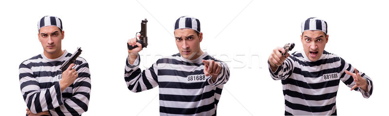 The man prisoner with gun isolated on white Stock photo © Elnur
