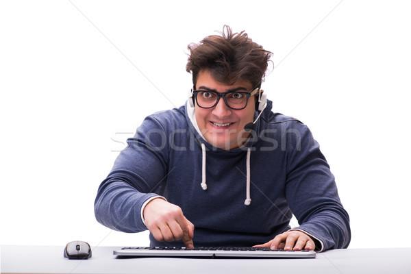 Divertente nerd uomo lavoro computer isolato Foto d'archivio © Elnur