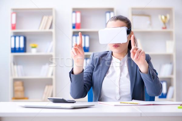 女性実業家 バーチャル 現実 眼鏡 オフィス 女性 ストックフォト © Elnur