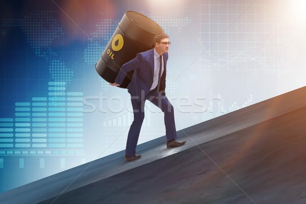 Biznesmen oleju baryłkę działalności ceny przemysłu Zdjęcia stock © Elnur