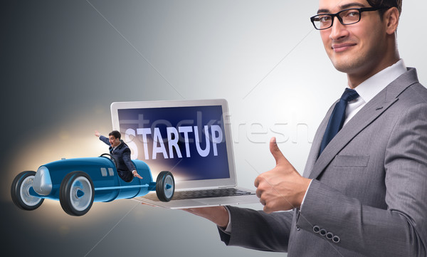 Start-up concept with businessman driving car Stock photo © Elnur