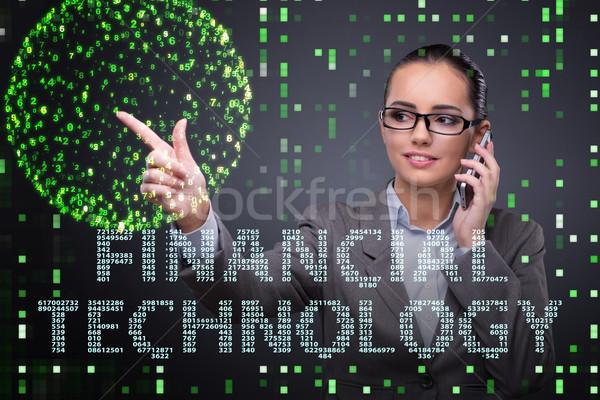 Businesswoman pressing buttons in fintech concept Stock photo © Elnur