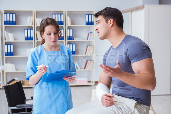 Doctor and patient during check-up for injury in hospital Stock photo © Elnur