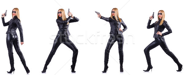 Woman in leather costume with gun isolated on white Stock photo © Elnur