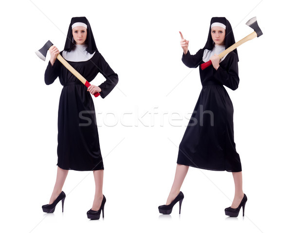Nun with axe isolated on white Stock photo © Elnur