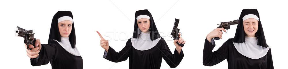 Giovani suora gun isolato bianco mano Foto d'archivio © Elnur